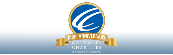 Catholic Charities 150th Anniversary logo - nonprofit, community, philanthropy