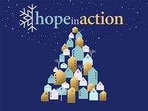 Catholic Charities Hope in Action 2020 logo - christmas tree, holiday, snowflake, nonprofit