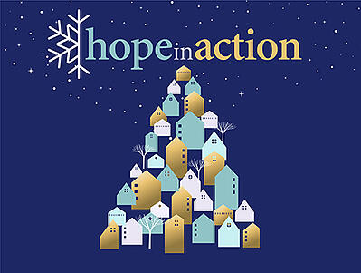 Catholic Charities Hope in Action 2020 logo - christmas tree, holiday, snowflake, nonprofit