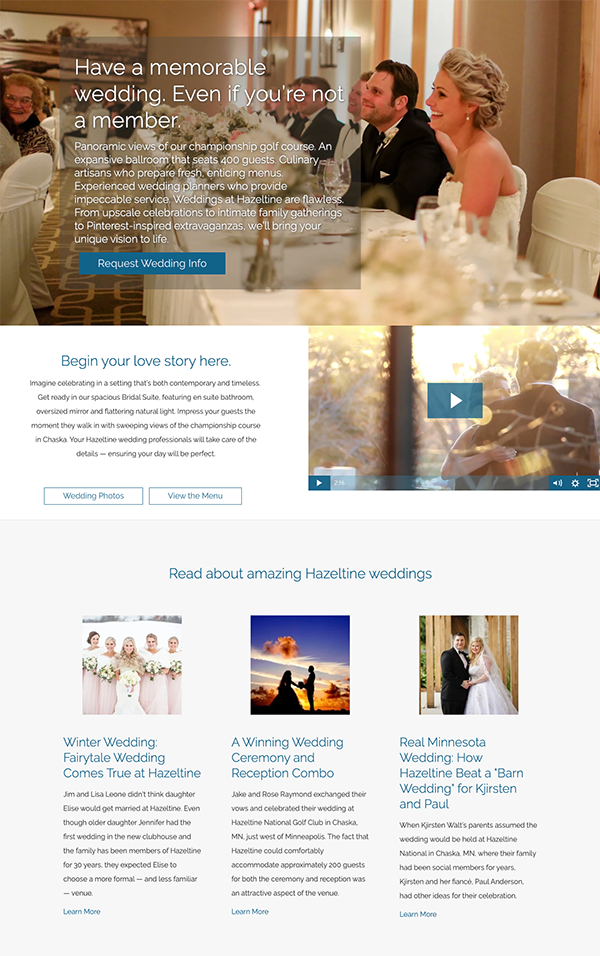 Hazeltine Wedding Page